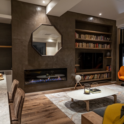 Townhouse Living Area Fireplace